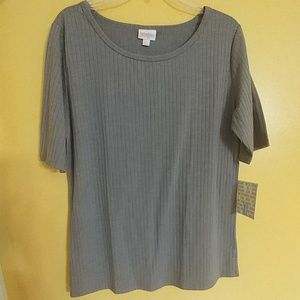 NWT LuLaRoe Gigi Ribbed Knit Gray Top XL